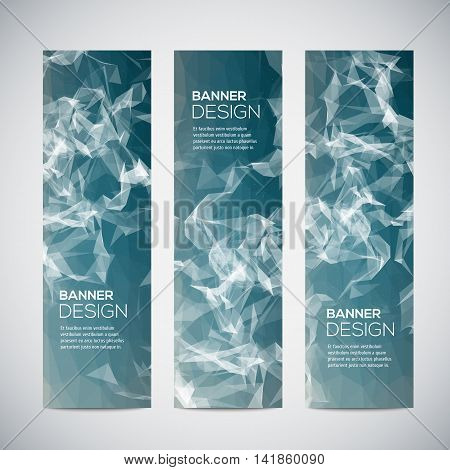 Banners with abstract colorful geometric triangulated pattern and background. Vector illustration.
