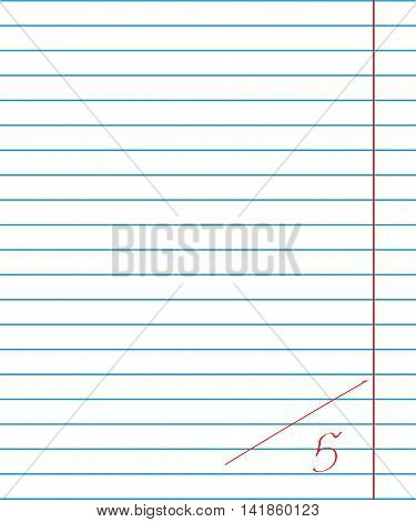 Vector paper sheet in line with the red fields