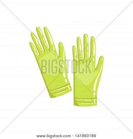 Pair Of Green Rubber Gloves Simple Realistic Bright Flat Colorful Illustration Isolated On White Background