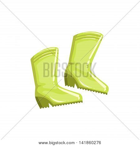 Pair Of Green Rubber Boots Simple Realistic Bright Flat Colorful Illustration Isolated On White Background