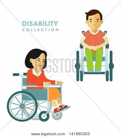 Young disabled man and woman in wheelchair isolated on white background