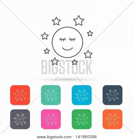Moon and stars icon. Night or sleep sign. Astronomy symbol. Linear icons in squares on white background. Flat web symbols. Vector