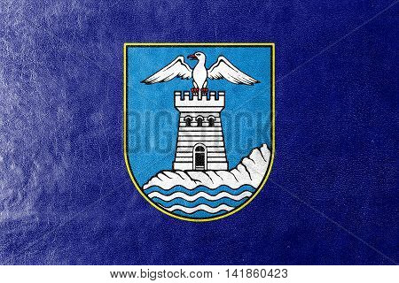 Flag Of Opatija, Croatia, Painted On Leather Texture