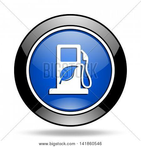 biofuel blue glossy icon
