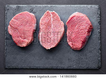 Beef steak on a graphite board