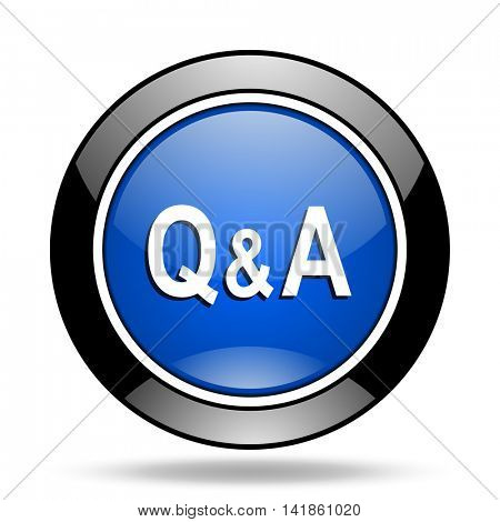 question answer blue glossy icon