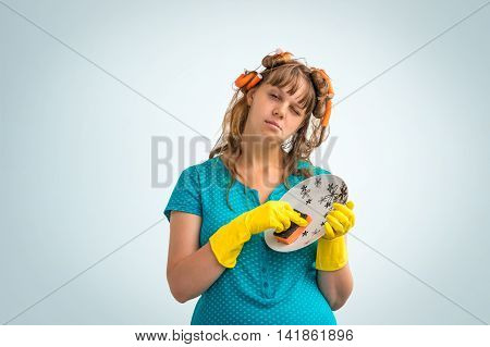 Tired Housewife Woman Washing Dishes