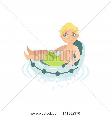 Boy Relaxing In Water On Air Armchair Simple Design Illustration In Cute Fun Cartoon Style Isolated On White Background