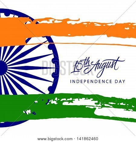 Indian Independence Day greeting card with Ashoka wheel, handwritten inscription 15th August and brush strokes in national flag colors. Vector Illustration.