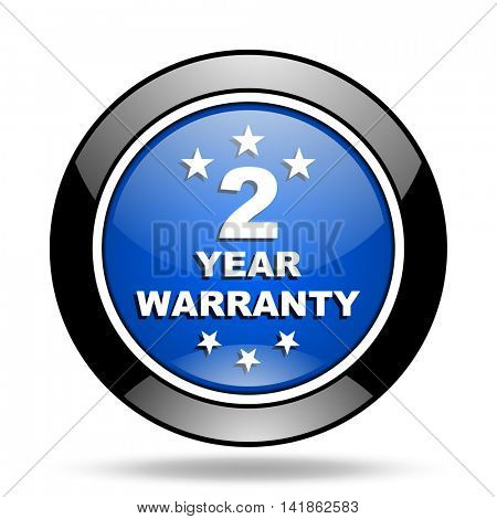 warranty guarantee 2 year blue glossy icon
