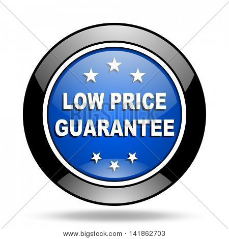 low price guarantee blue glossy icon