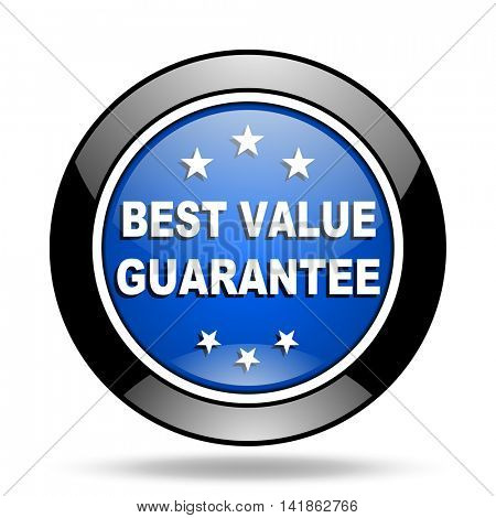 best value guarantee blue glossy icon