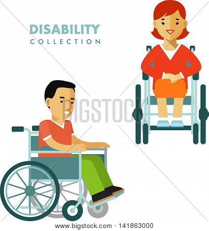 People set with young disabled man and woman in wheelchair isolated on white background