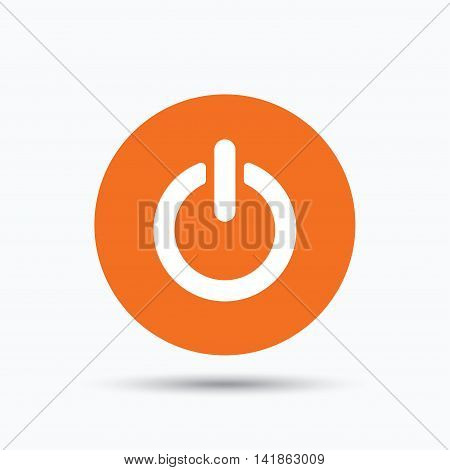 On, off power icon. Energy switch symbol. Orange circle button with flat web icon. Vector