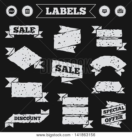 Stickers, tags and banners with grunge. Sale speech bubble icon. Black friday gift box symbol. Big sale shopping bag. Low price arrow sign. Sale or discount labels. Vector