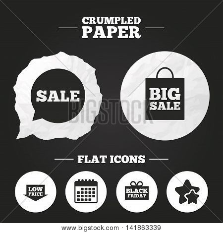 Crumpled paper speech bubble. Sale speech bubble icon. Black friday gift box symbol. Big sale shopping bag. Low price arrow sign. Paper button. Vector