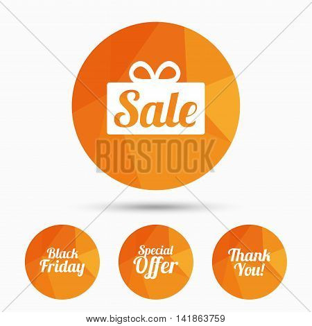 Sale icons. Special offer and thank you symbols. Gift box sign. Triangular low poly buttons with shadow. Vector