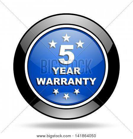warranty guarantee 5 year blue glossy icon