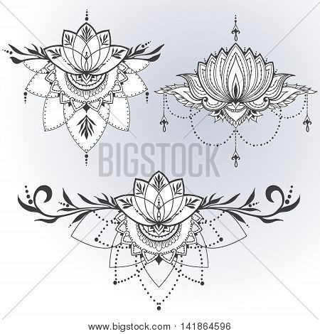 Three hand-drawn lotus flowers in east style. Can be used for backgrounds business style tattoo templates cards design or else. Vector illustration.