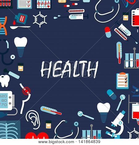 Annual medical check up background with flat symbols of stethoscopes, thermometers, microscope and syringes, medicines, pills, blood bags and test tubes, hearts, teeth, hearing and breast cancer tests, dentist tools, tooth implants and x ray scan