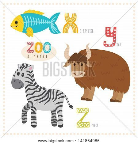 Cute Cartoon Animals. Zoo Alphabet With Funny Animals. X, Y, Z Letters. X-ray Fish, Yak, Zebra