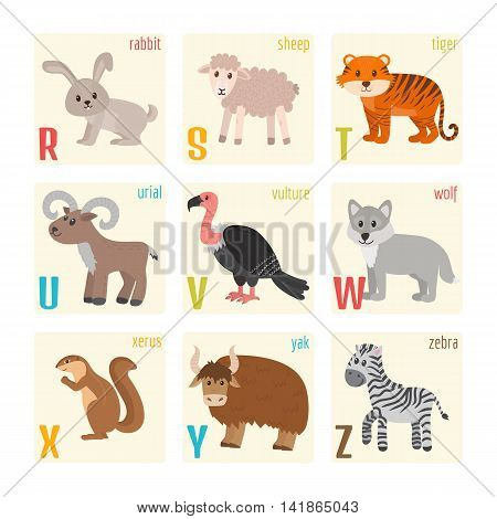 Cute Zoo Alphabet With Animals In Cartoon Style. Rabbit, Sheep, Tiger, Urial, Vulture, Wolf, Xerus,