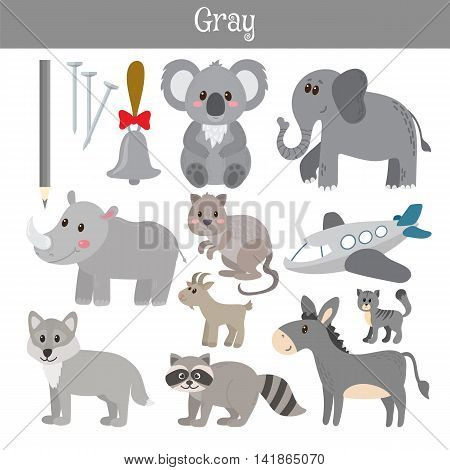 Gray. Learn The Color. Education Set. Illustration Of Primary Colors
