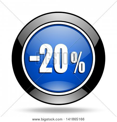 20 percent sale retail blue glossy icon