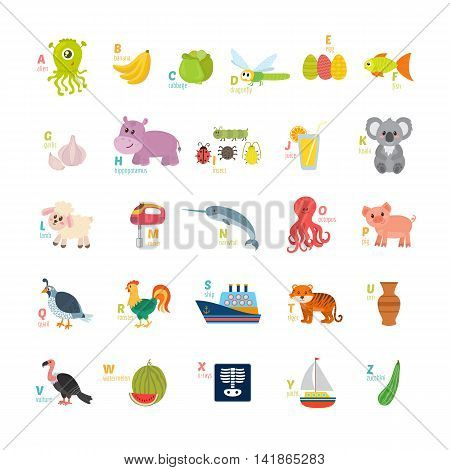Learn To Read. Children Alphabet With Cute Cartoon Animals And Other Funny Elements