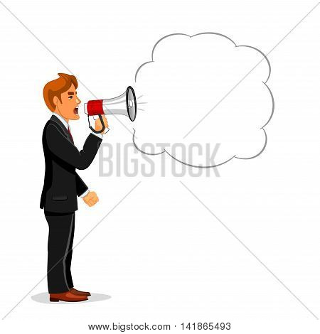 Angry businessman making announcement through loudspeaker megaphone with speech bubble for your text. Use as promotion, advertising campaign or protest demonstration concept design