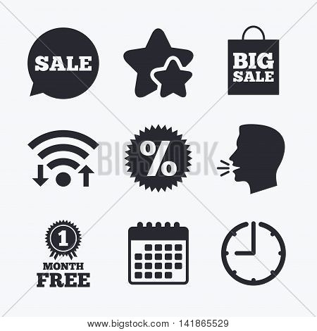 Sale speech bubble icon. Discount star symbol. Big sale shopping bag sign. First month free medal. Wifi internet, favorite stars, calendar and clock. Talking head. Vector