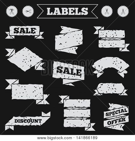 Stickers, tags and banners with grunge. Scissors icons. Hairdresser or barbershop symbol. Scissors cut hair. Cut dash dotted line. Tailor symbol. Sale or discount labels. Vector