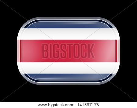 Flag Of Costa Rica. Rectangular Shape With Rounded Corners