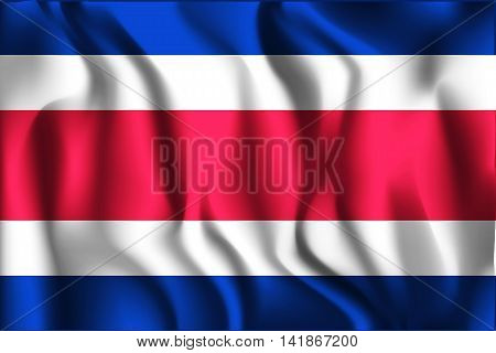Flag Of Costa Rica. Rectangular Shape Icon With Wavy Effect