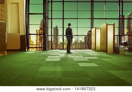 Standing Man On The Airport Lobby