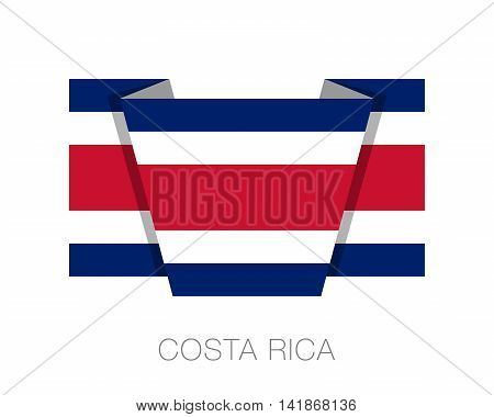 Flag Of Costa Rica. Flat Icon Wavering Flag With Country Name