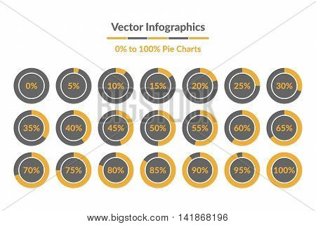 Vector Infographics. 0% to 100% Pie Charts grey and yellow isolated circle diagrams.