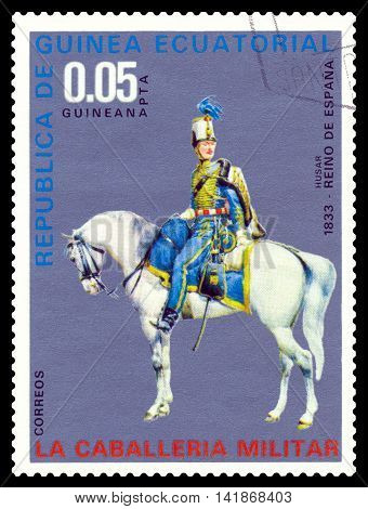 STAVROPOL RUSSIA - August 07 2016: A postage stamp printed in the Equatorial Guinea shows Spain hussar in 1833 year circa 1976