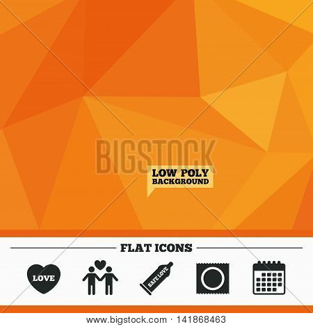 Triangular low poly orange background. Condom safe sex icons. Lovers Gay couple signs. Male love male. Heart symbol. Calendar flat icon. Vector