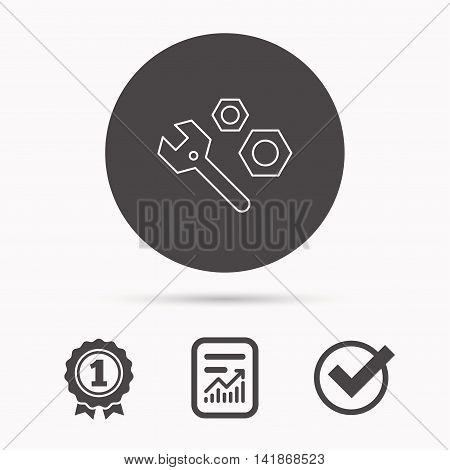 Repair icon. Spanner tool with screw-nut sign. Report document, winner award and tick. Round circle button with icon. Vector