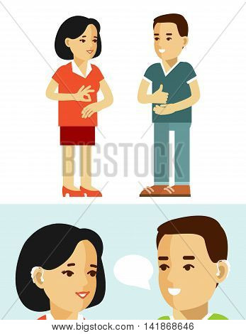 Young disabled deaf-mute man and woman communicate using sign language isolated on white background