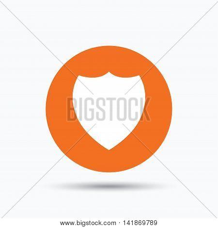 Shield protection icon. Defense equipment symbol. Orange circle button with flat web icon. Vector