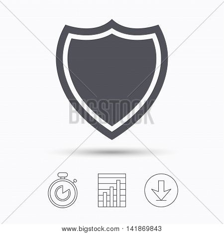 Shield protection icon. Defense equipment symbol. Stopwatch, chart graph and download arrow. Linear icons on white background. Vector