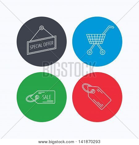 Shopping cart, price tag and sale coupon icons. Special offer label linear sign. Linear icons on colored buttons. Flat web symbols. Vector