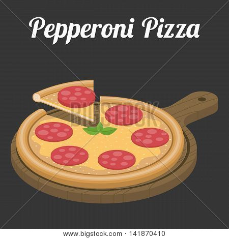 Vector Pepperoni Pizza, flat design with text