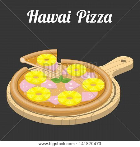 Vector Hawaii Pizza, flat design with text
