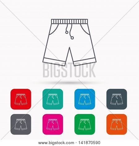 Shorts icon. Casual clothes shopping sign. Linear icons in squares on white background. Flat web symbols. Vector