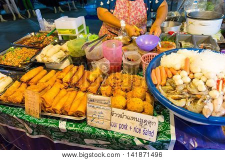 Koh Samui Thailand - July 4 2016. Fresh street food in Koh Samui Thailand