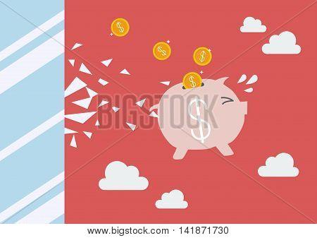 Piggy bank jump and broke glass window. Business concept