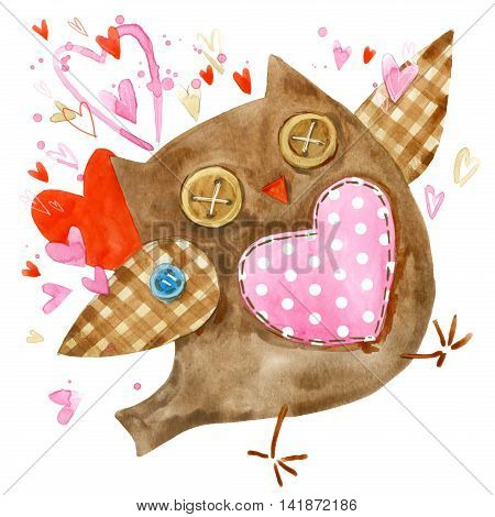 Cute owl. Watercolor bird owl with hearts. Birthday card. Cartoon bird.